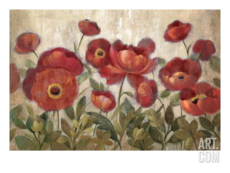 Daydreaming Flowers Red Giclee Print by