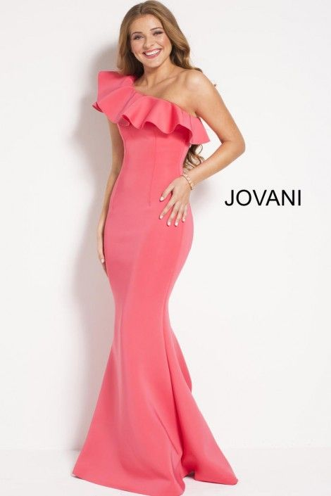 b9df17660f37 Style 51274 from Jovani is a one shoulder fitted scuba trumpet gown with  ruffled neckline.