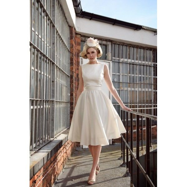 Boat Neck Tea Length Brocade And Satin Wedding Dress Star Bridal Arel