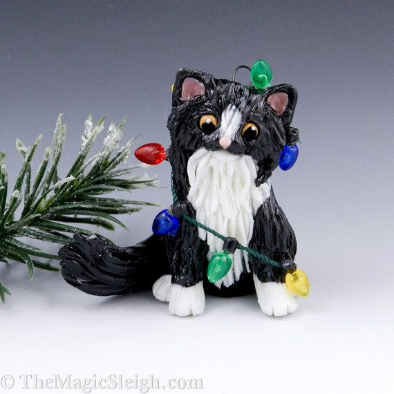 Pin on Cat Christmas ornaments, Porcelain