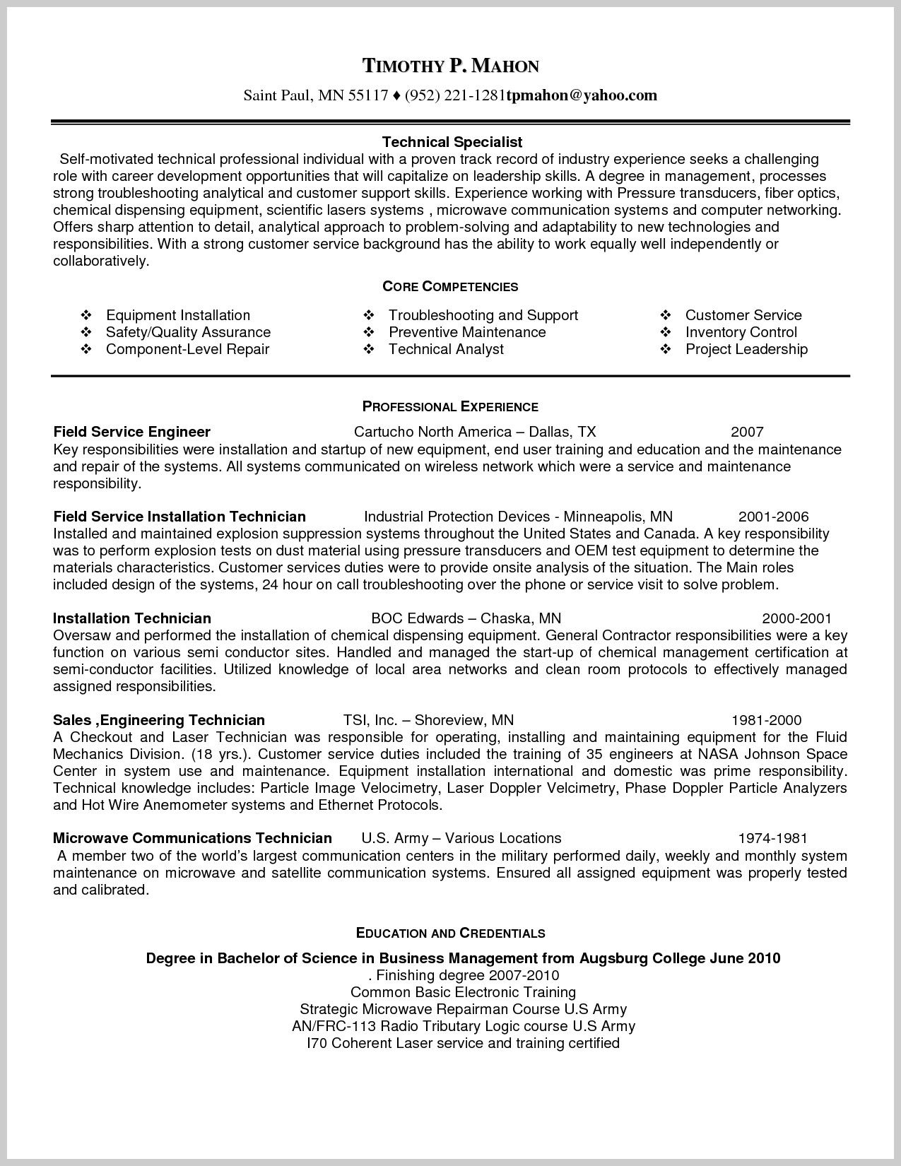 sample resume for field service technician 218944