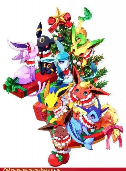 Christmas Eevee.All The Eeveelutions Celebrating Christmas Pokemon