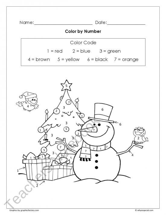 Chrismas Color by Number | FREE PreK-2nd Grade | Pinterest