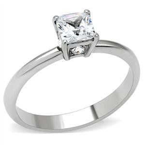 Women's Stainless Steel Square Cut Cubic Zirconia Promise Ring