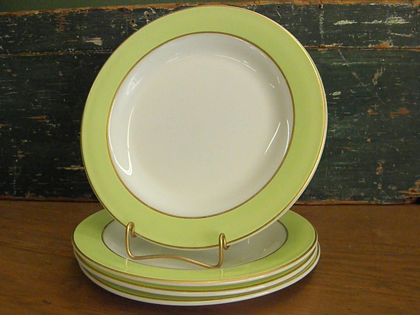Pyrex Lime Green and White with Gold Trim Dinner Plate & Set of Pyrex Lime Green and White with Gold Trim Dinner Plates ...