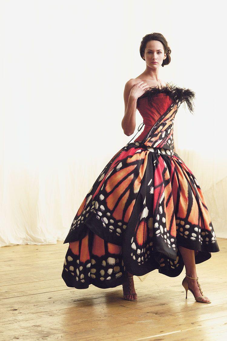 2005 Custom silk taffeta butterfly print skirt and corset