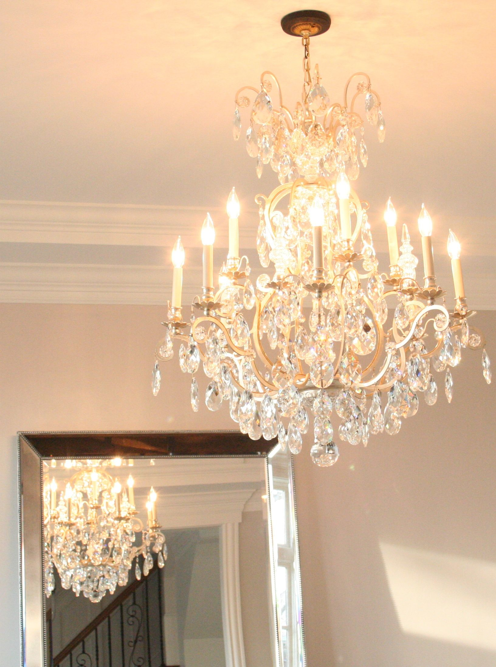 After  Same Lone Schonbek Crystal Chandelier Clean And In