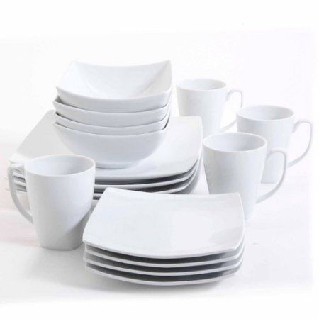 Gibson Studio Bistro Dining 16-Piece Square Dinnerware Set White - Walmart .com  sc 1 st  Pinterest & Gibson Studio Bistro Dining 16-Piece Square Dinnerware Set White ...