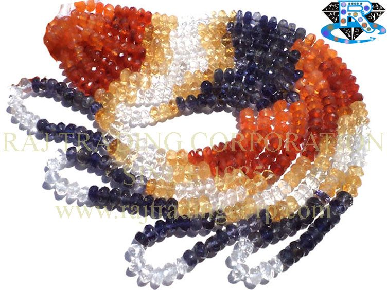 Multi Faceted Roundel (Quality A) (Carnelian Citrine Crystal Iolite) Shape: Roundel Faceted Length: 38 cm Weight Approx: 14 to 16 Grms. Size Approx: 5 to 6 mm Price $9.00 Each Strand