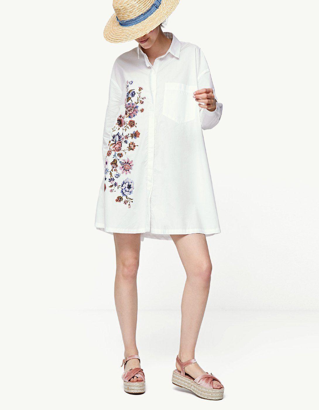 3e9d67dd65 Vestido camiseiro bordado - Vestidos