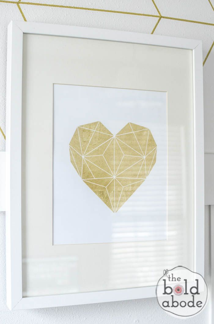 12 Beautiful (and FREE) Gold Foil Printables | Geometric heart, Free ...