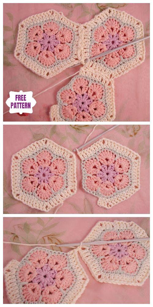 Couverture de fleur africaine au crochet Modèles de crochet gratuits   – Babydecken
