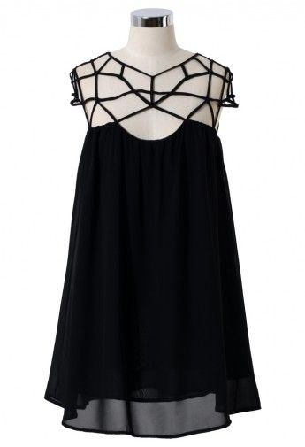 Black Cage Chiffon Dress