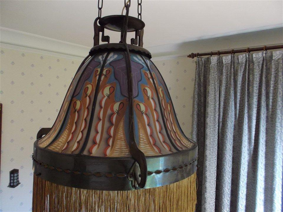 Hanglamp Met Toplicht Montuur Brons Gesigneerd Art Deco Amsterdam School Deco