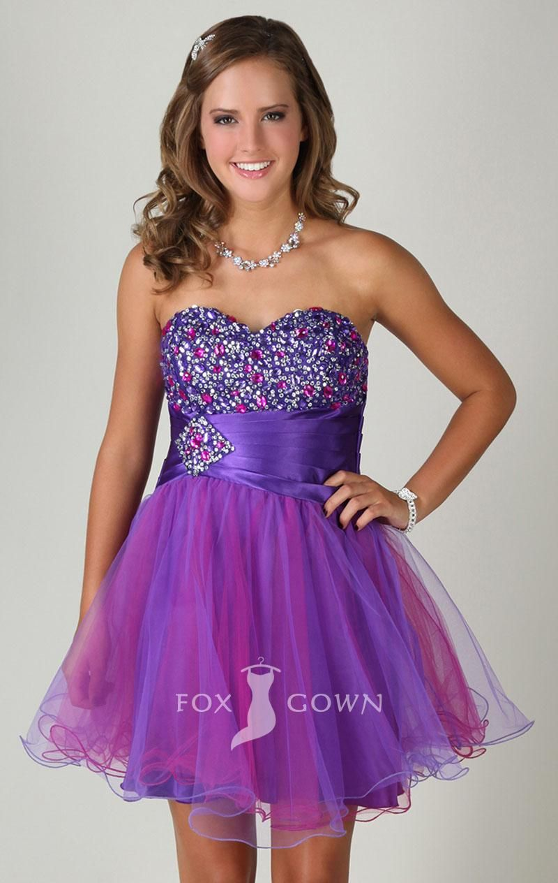 purple sweetheart strapless beaded bodice a-line short prom dress ...