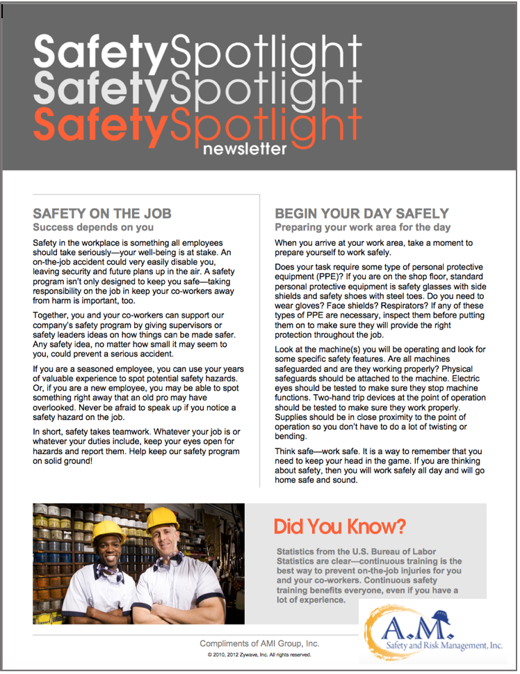 Safety in the workplace is something all employees should