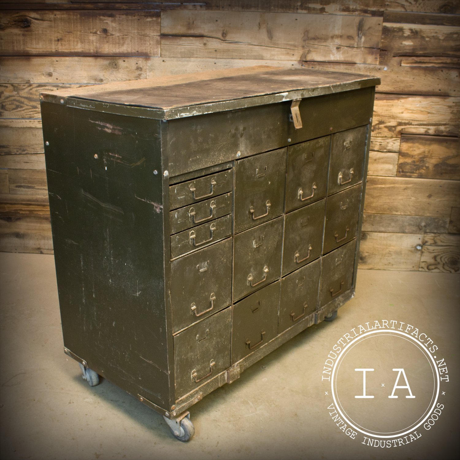 Vintage Industrial Army Military Locking Tool Cabinet