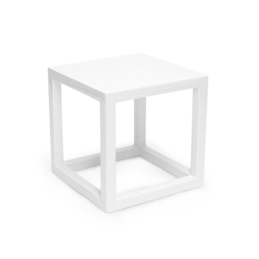 White Lacquer Cube Side Table   Small From Jonathan Adler