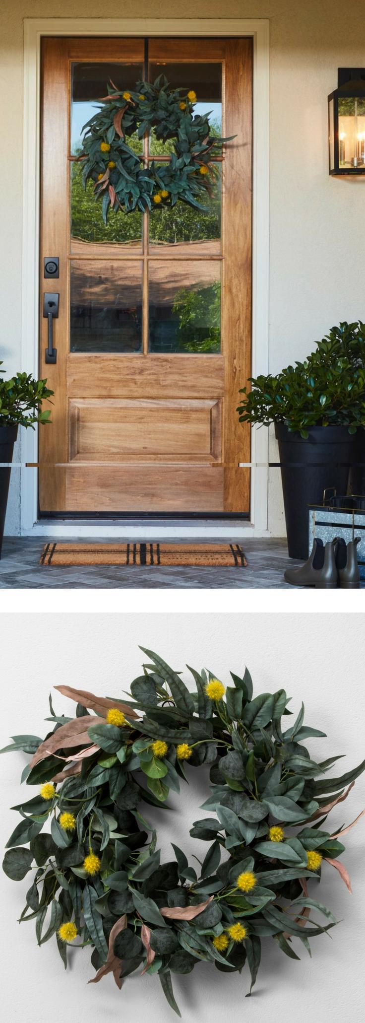 Faux Olive Leaf & Crespedia Wreath Outdoor Décor Fall