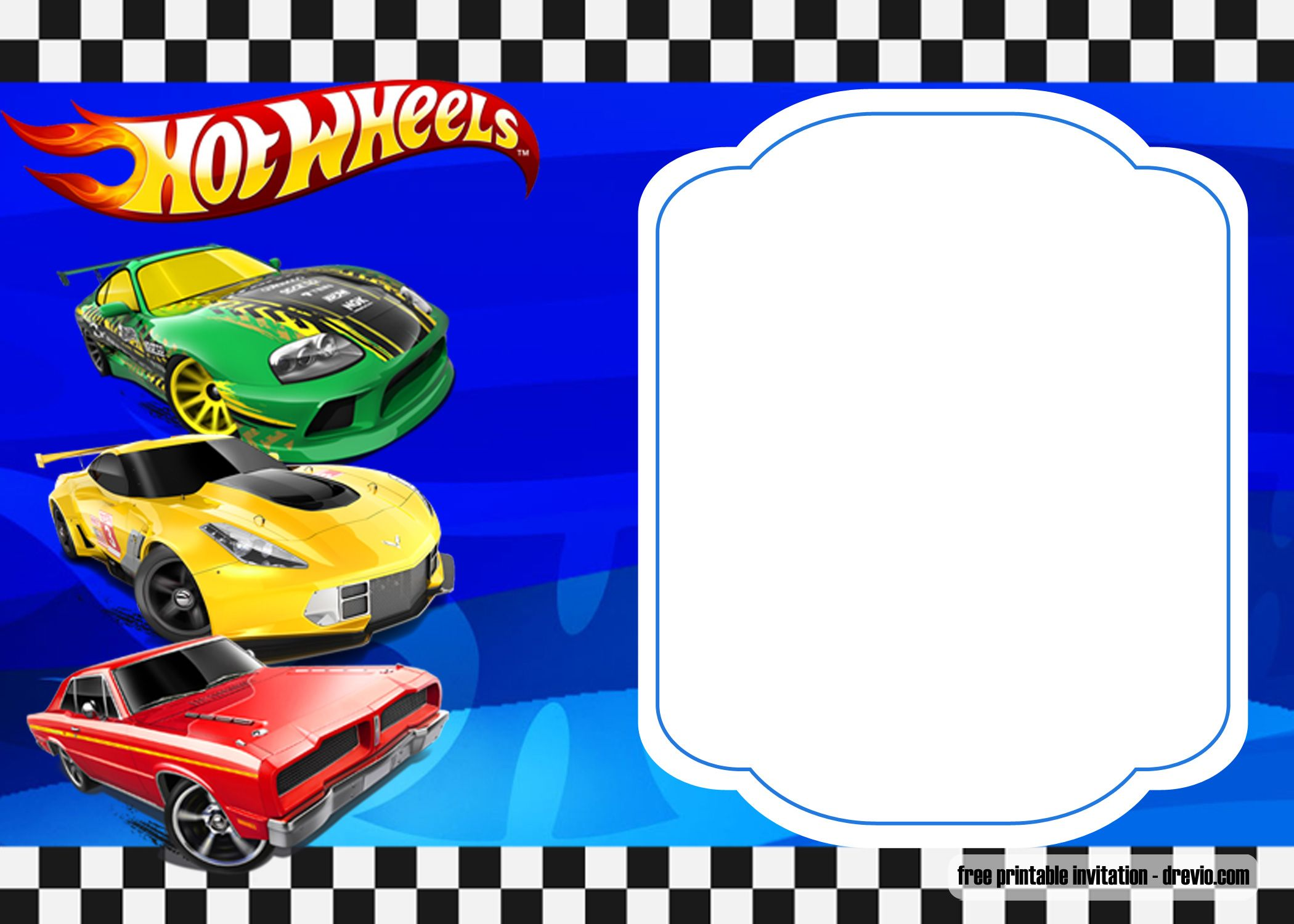 free hot wheels birthday invitation