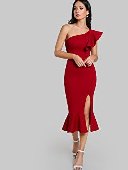 e7a21160052 Floerns Women s Ruffle One Shoulder Split Midi Party Bodycon Dress Red XS  at Amazon Women s Clothing store