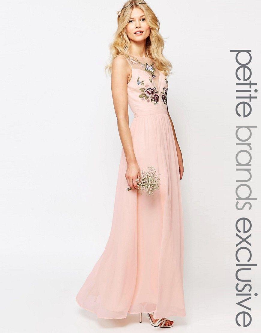 Imagen 1 de Vestido largo con estampado floral en el pecho y ...