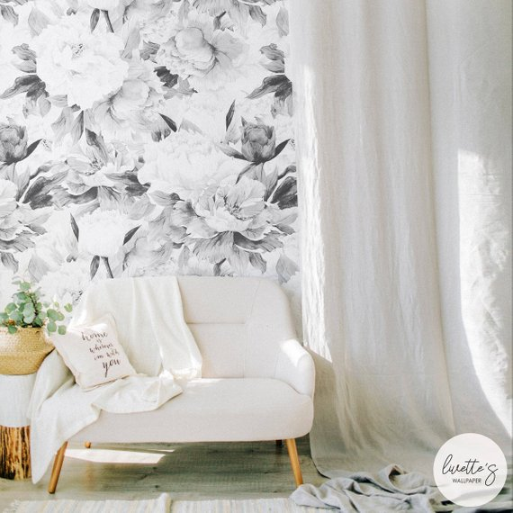 Floral Peony Removable Wallpaper Gray Watercolor Flower Self Etsy Removable Wallpaper Peony Wallpaper Traditional Wallpaper