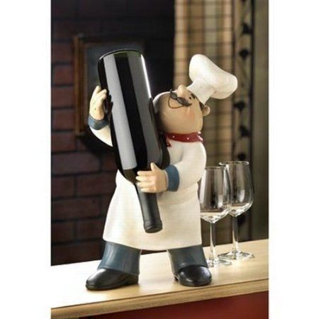 Fat Italian French Kitchen Chef Wine Bottle Holder Stand Home Accent