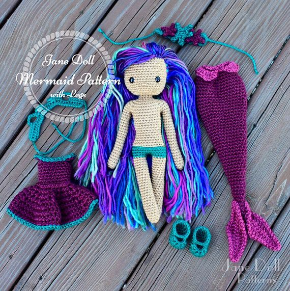 Crochet Mermaid Doll Pattern Jane Doll Mermaid With Legs Crochet