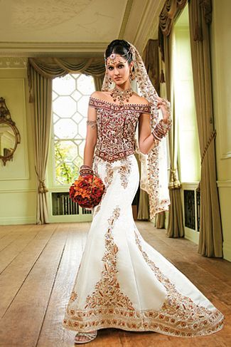 Red And Beige Asian Wedding Dress Google Search Wedding - White Indian Wedding Dress