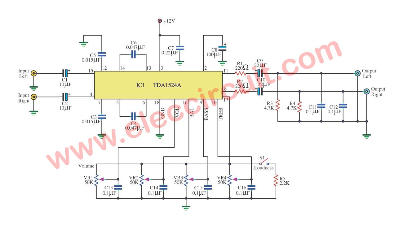 stereo tone control circuit using ic tda1524a eleccircuit tone rh pinterest com stereo tone control circuit diagram with pcb layout Inverter Circuit Diagram