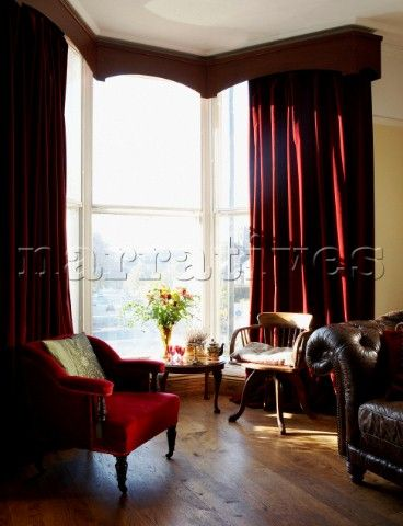 red curtains living room on Bd074 05 Living Room With Long ...