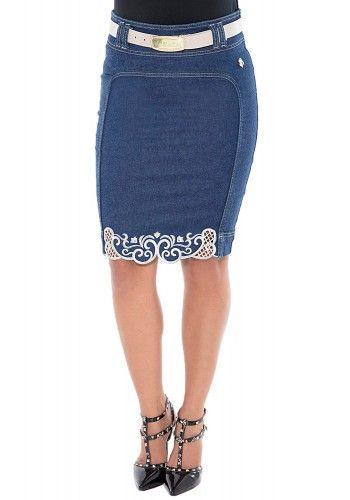 saia jeans lapis barra bordada via tolentino viaevangelica frente detalhe 2 090c0f51032