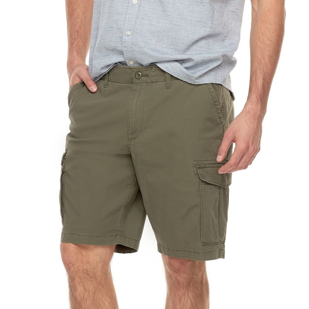 "4d0cb55d1cc94 Big & Tall SONOMA Goods for Lifeâ""¢ Flexwear Modern-Fit Ripstop Stretch  Cargo Shorts, Dark Green"