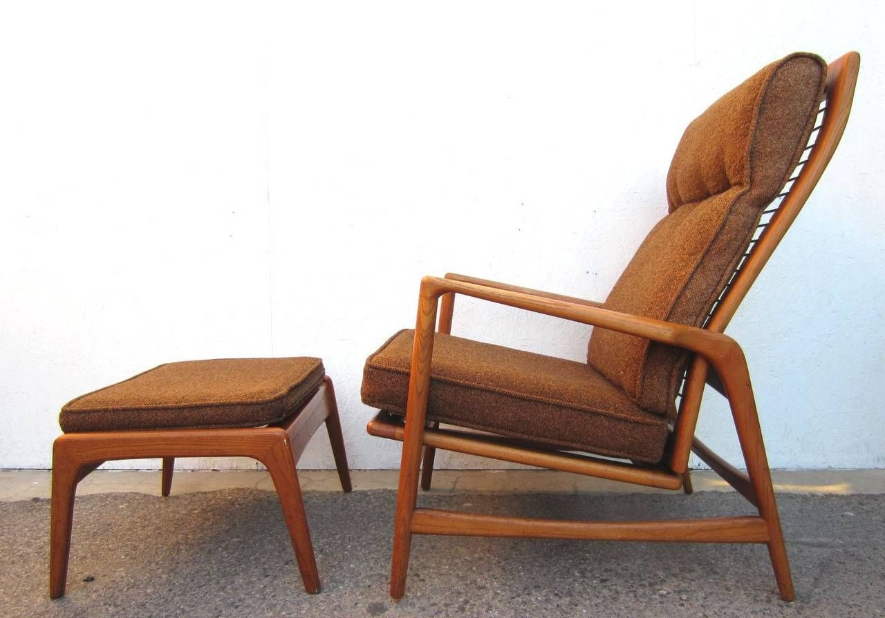 Mid century modern lounge chair with ottoman