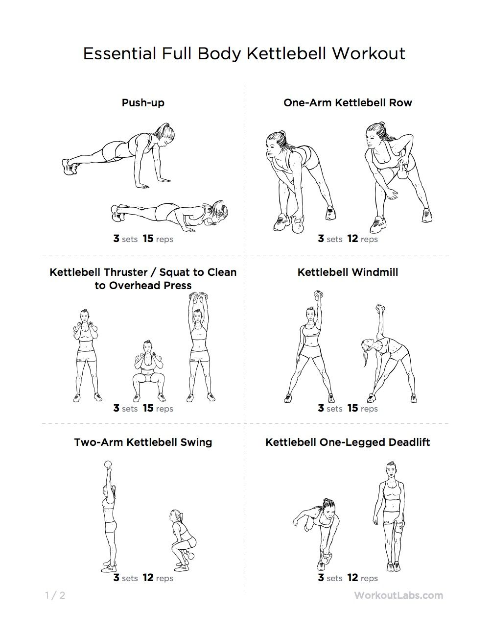 Essential Full Body Kettlebell Printable Workout for Men & Women ...