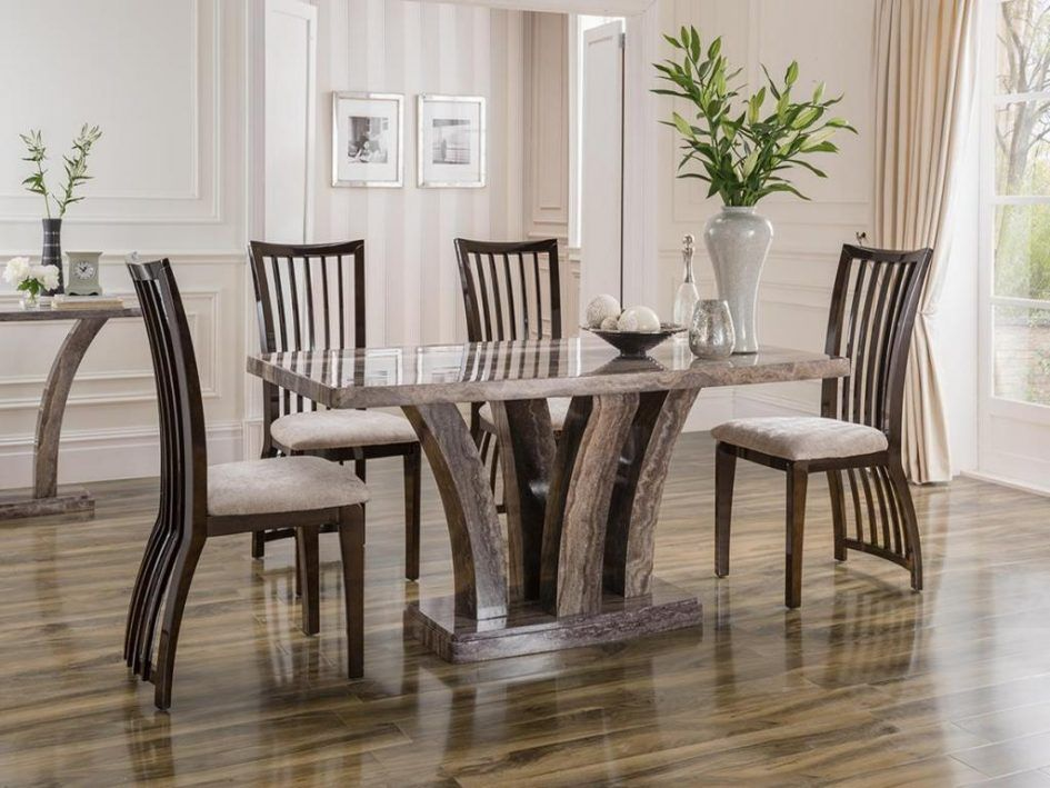 Dining room rustic marble dining table for 4 dining chairs