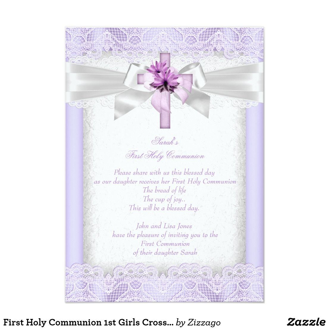 First Holy Communion 1st Girls Cross Lavender Invitation