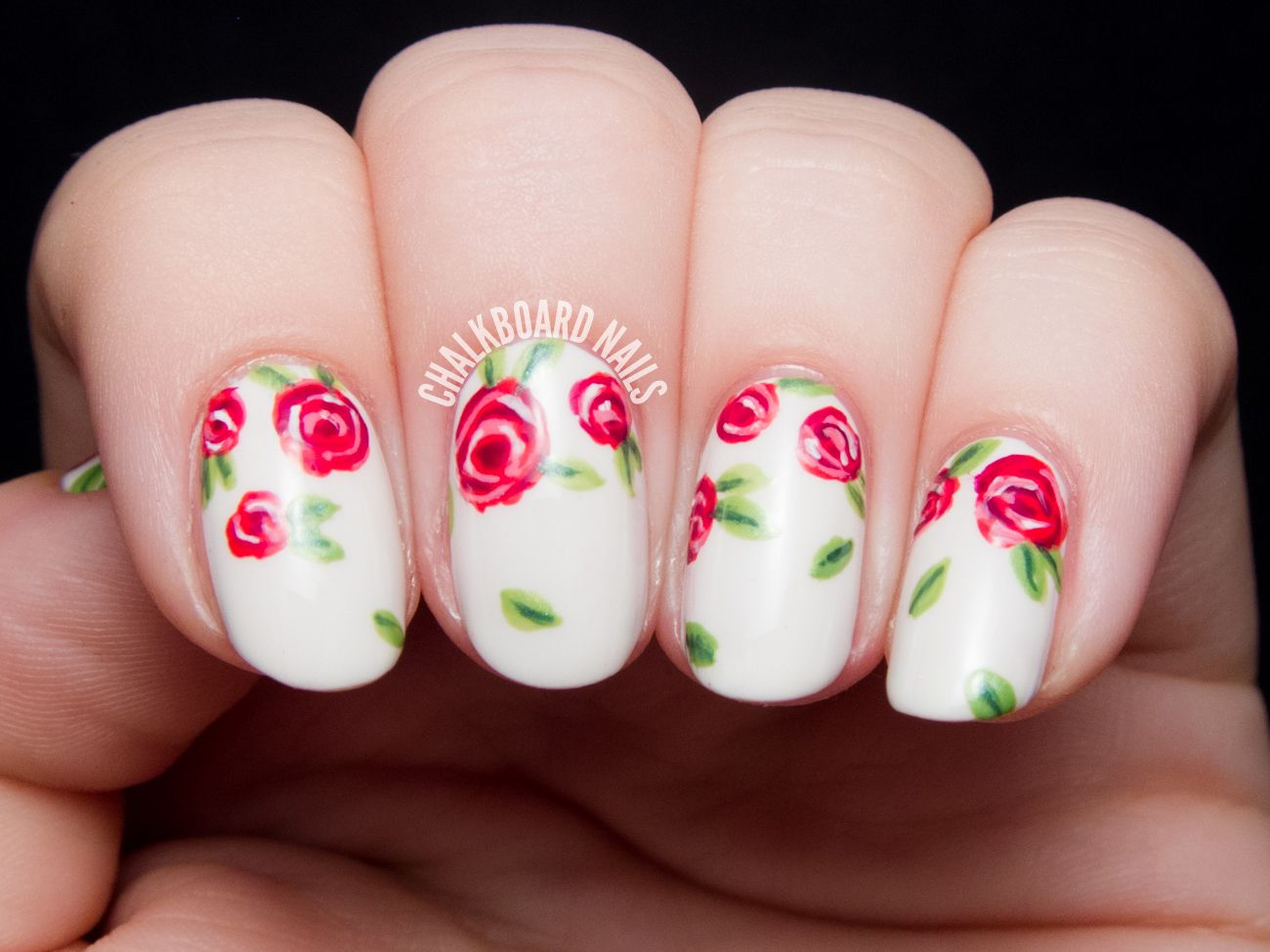 Sweet red rose nail art by @chalkboardnails - Sweet Red Rose Floral Print Pinterest Rose Nail Art, Rose Nails