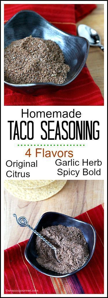 Homemade Taco Seasoning Mix, easy DIY taco seasoning in the best 4 flavors: Original, Citrus, Garlic Herb, & Spicy Bold | SnappyGourmet.com #diytacoseasoning Homemade Taco Seasoning Mix, easy DIY taco seasoning in the best 4 flavors: Original, Citrus, Garlic Herb, & Spicy Bold | SnappyGourmet.com #diytacoseasoning Homemade Taco Seasoning Mix, easy DIY taco seasoning in the best 4 flavors: Original, Citrus, Garlic Herb, & Spicy Bold | SnappyGourmet.com #diytacoseasoning Homemade Taco Seasoning Mi #diytacoseasoning
