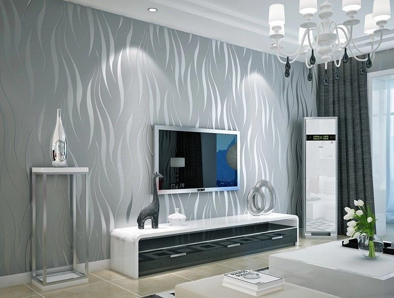 Black And Silver 3d Modern Stripes Art Wallpaper Roll Dzk47 Living Room Wave Wall Paper Papel De Parede Para Wallpaper Living Room Silver Wallpaper Grey Walls