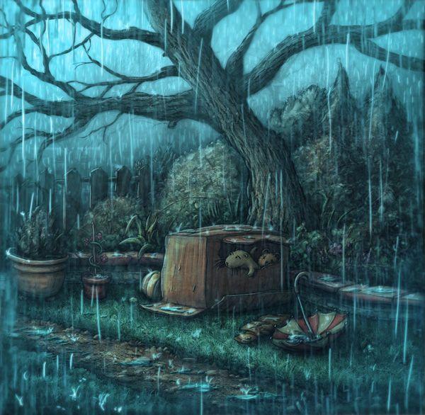 otter in the rain by Samuel