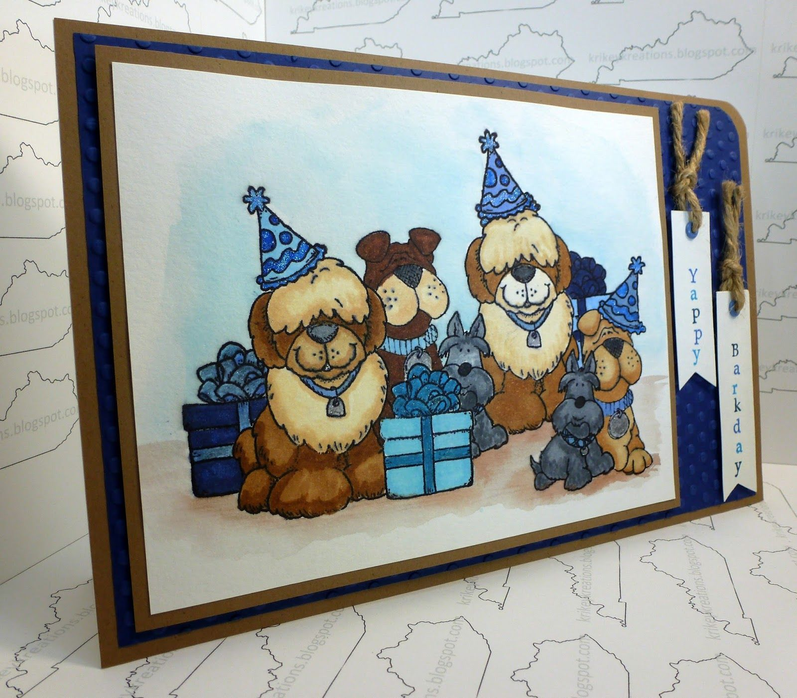 A handmade dog themed masculine birthday card measuring