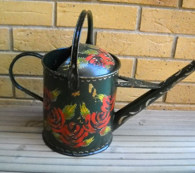 "Watering can, English, metal, painted with ""Roses"", narrowboat antique."