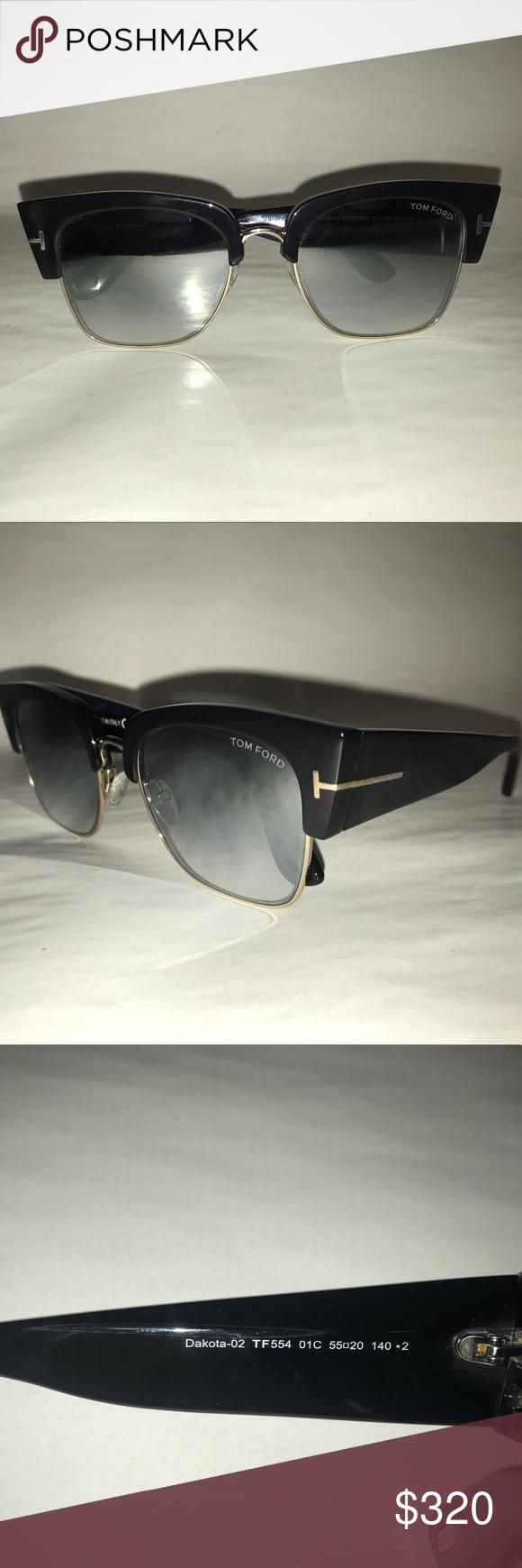 c6a231edd8 Tom Ford Dakota-02 Sunglasses Tom Ford TF 554 Dakota-02 Cat Eye Sunglasses.  Black Frame. Gradient Grey Lenses with Silver Flash Mirror. New. Never Worn.