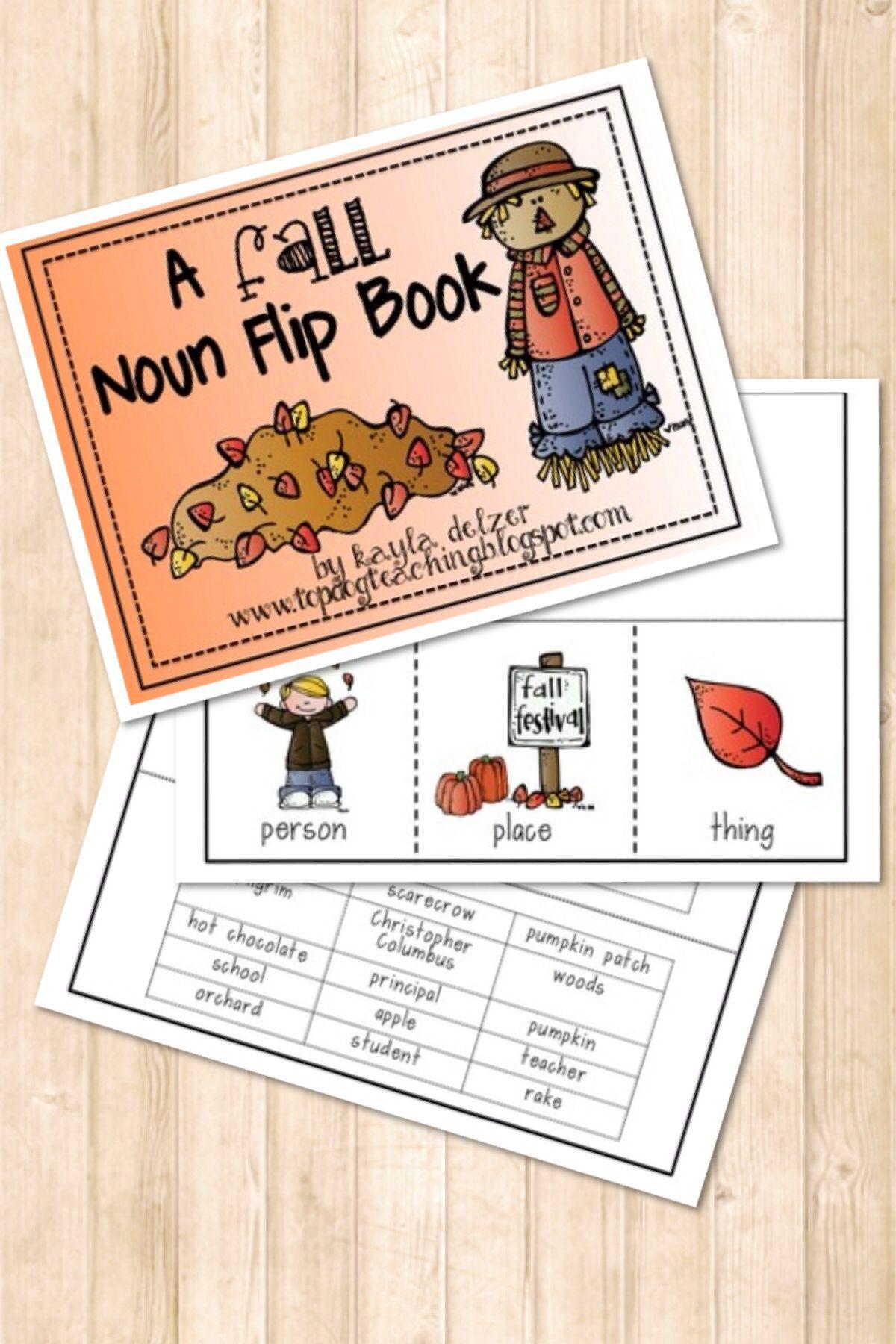 A Fall Nouns Flip Flap Book Tpt Store