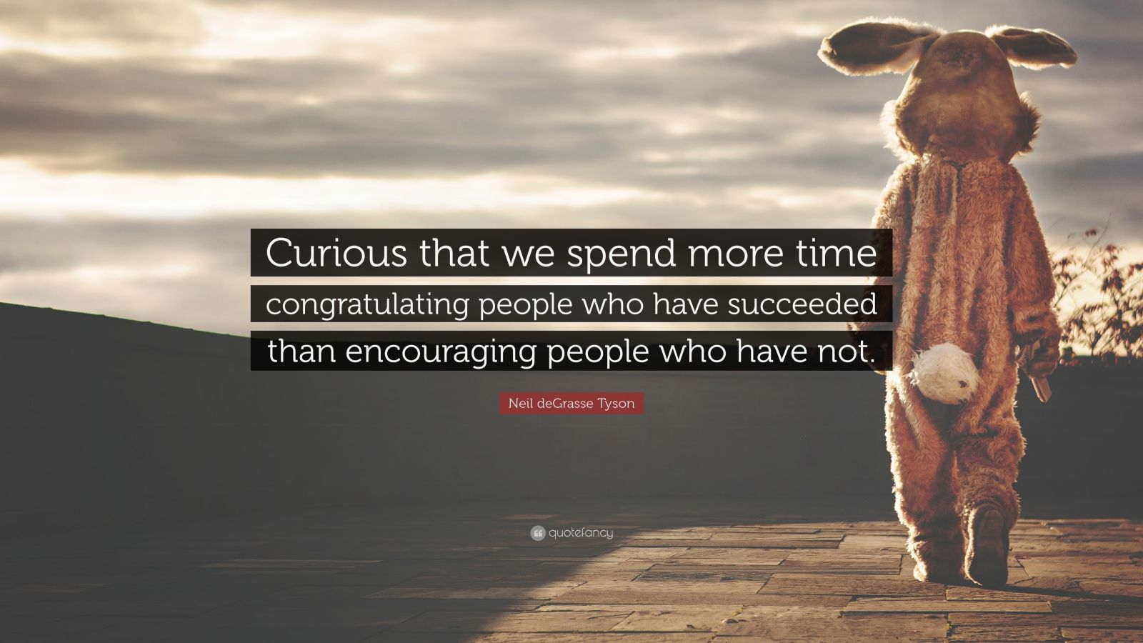 "Neil deGrasse Tyson Quote: ""Curious that we spend more time congratulating people who have succeeded than encouraging people who have not."""