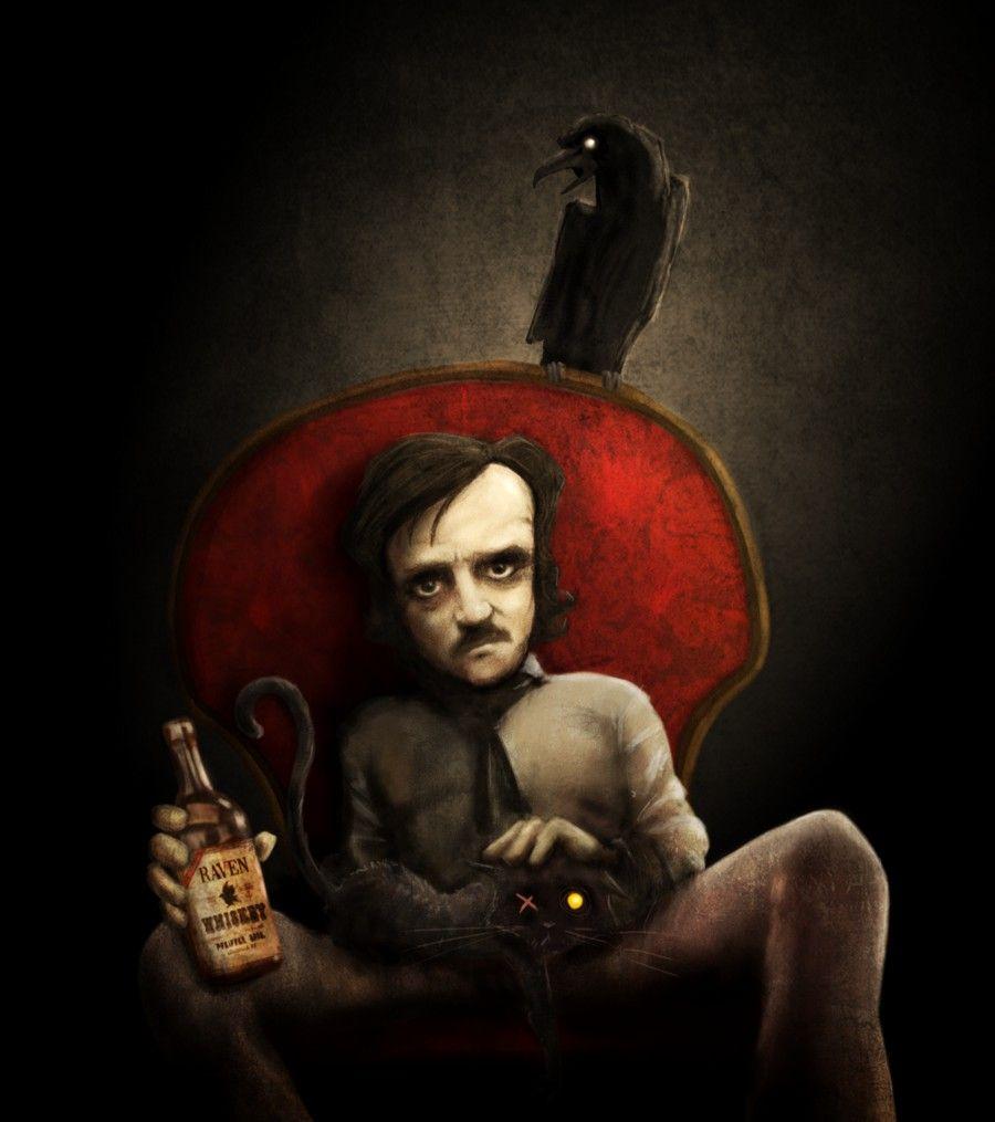 "Made by: David G. Forés , ""Delirium"" - (Black Cat on the lap of Edgar Allan  Poe) | Edgar allan poe art, Edgar allan poe, Edgar alan poe"