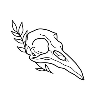 Photo of Flash minimalist skull. Fine Line, illustrative, handpoke. Tattoo The ink dot, Biot.