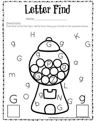 Cute Letter Find Worksheets With A Freebie Planning Playtime Preschool Letters Letter G Worksheets Letter Find